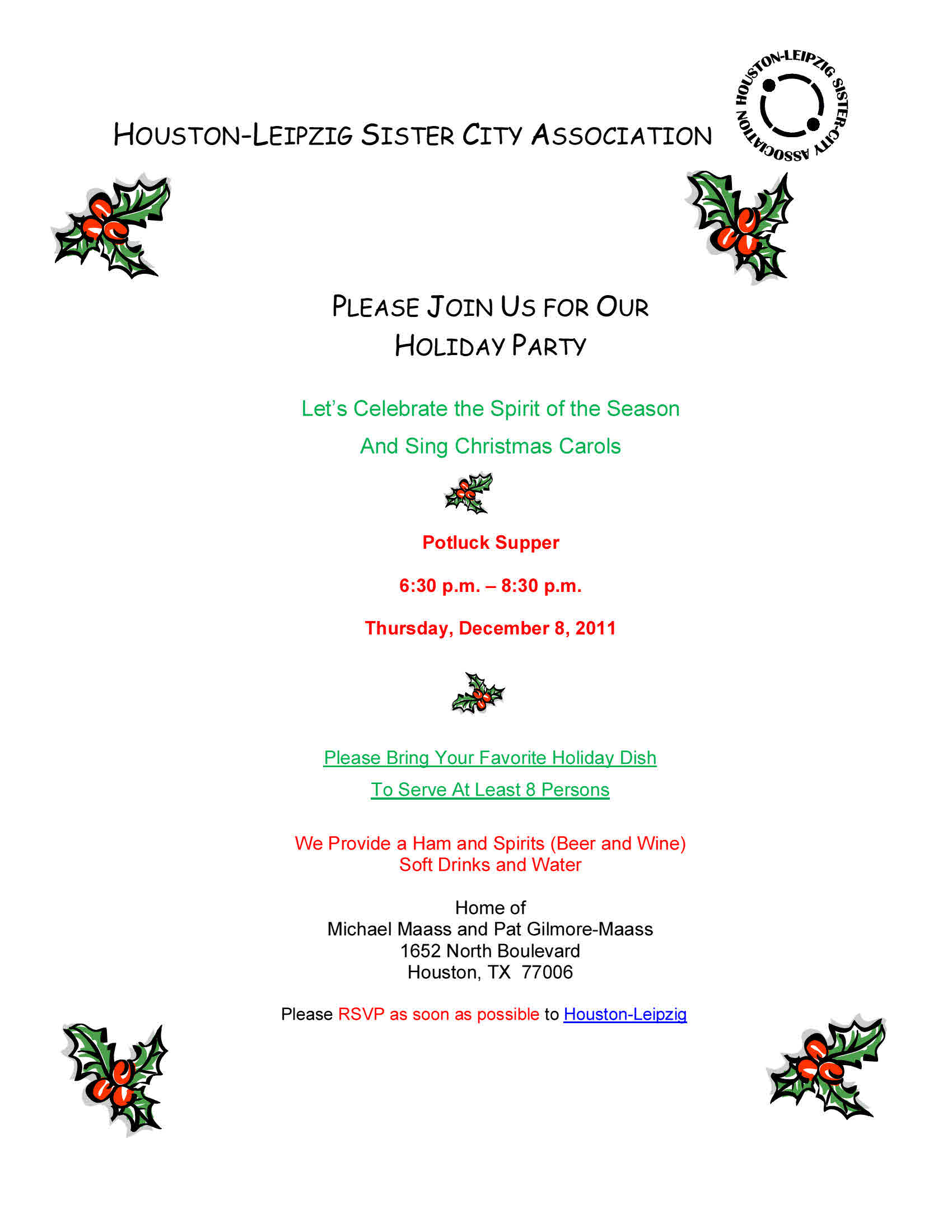 Copy of 2011 Holiday Party Invitation Website – Houston-Leipzig ...